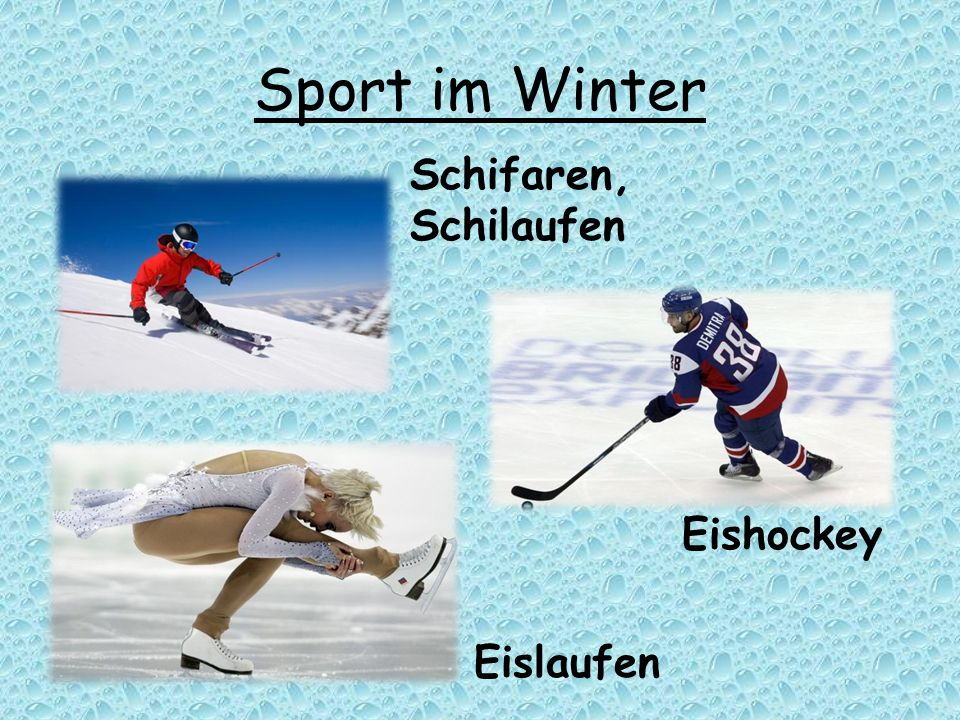 Sport im Winter Schifaren, Schilaufen Eishockey Eislaufen