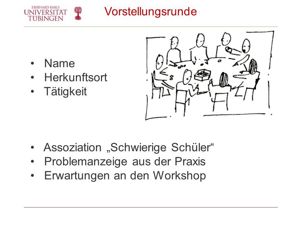 """Vorstellungsrunde Name. Herkunftsort. Tätigkeit. Assoziation """"Schwierige Schüler Problemanzeige aus der Praxis."""