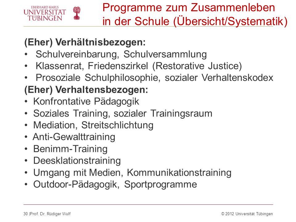 Programme zum Zusammenleben in der Schule (Übersicht/Systematik)