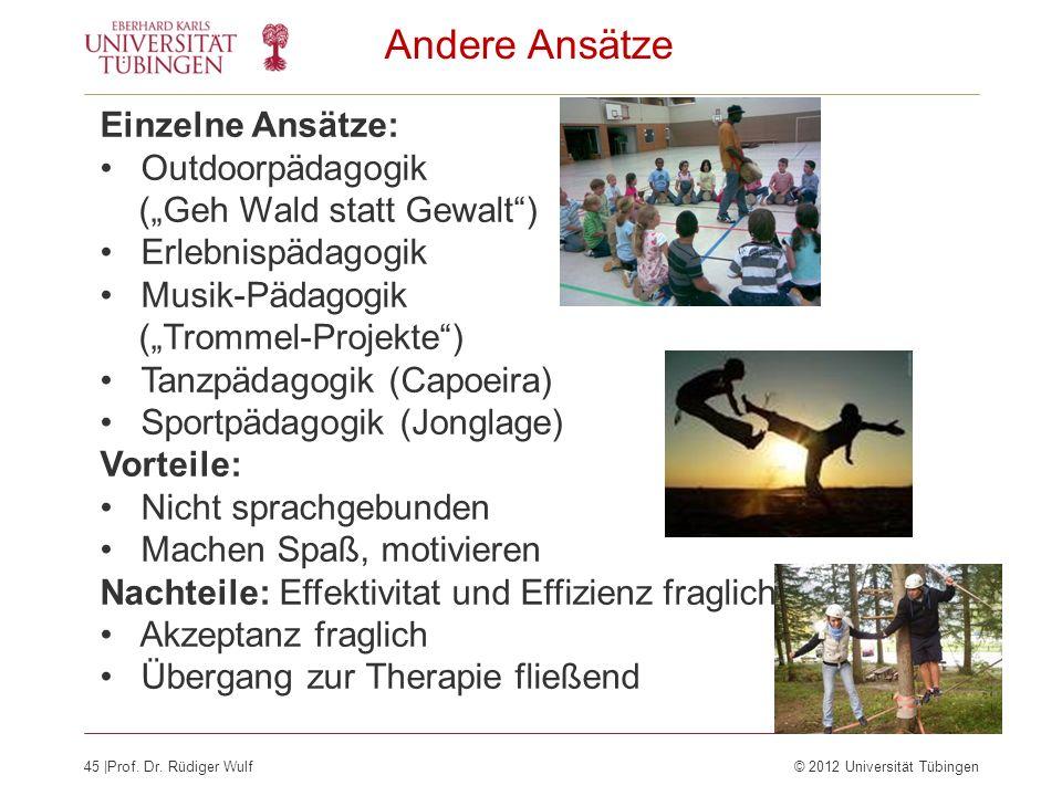 Andere Ansätze Einzelne Ansätze: Outdoorpädagogik