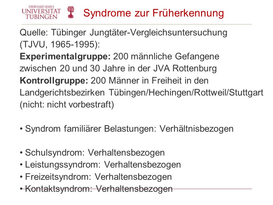 Syndrome zur Früherkennung