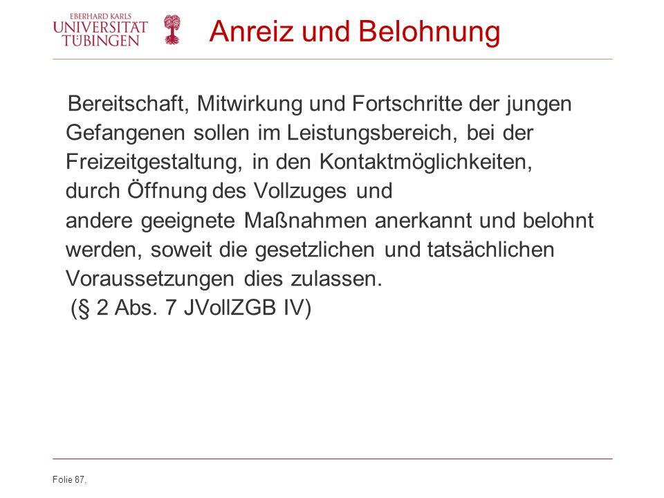 Anreiz und Belohnung (§ 2 Abs. 7 JVollZGB IV)