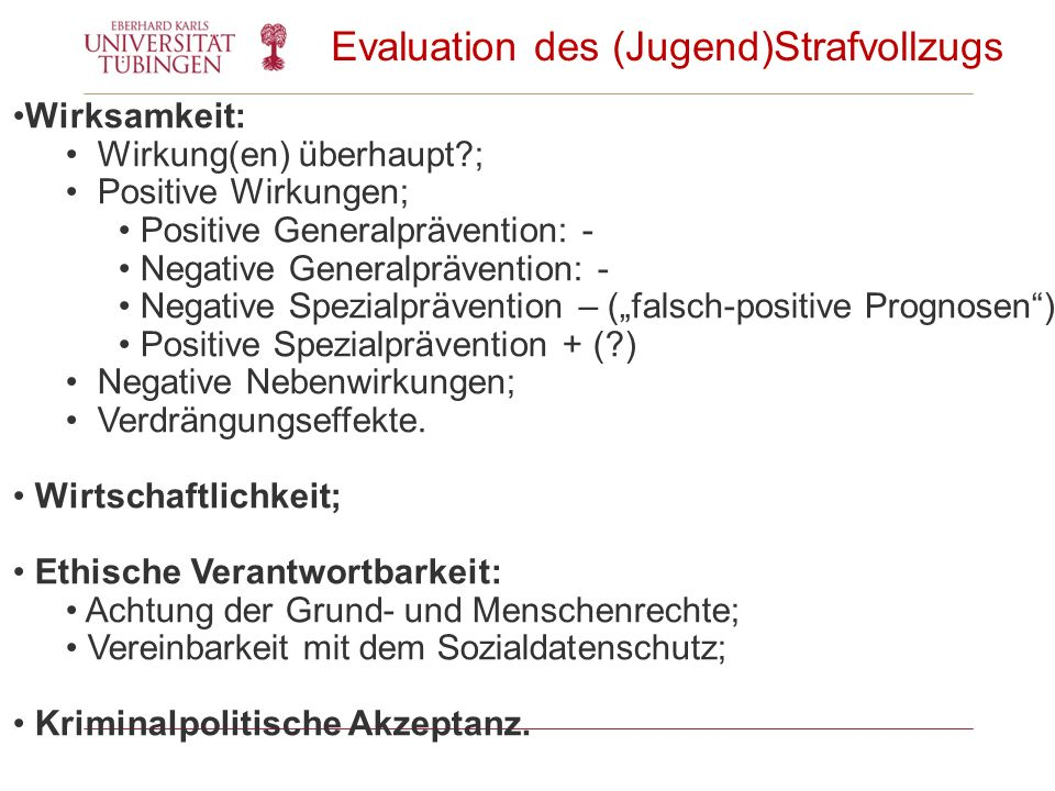 Evaluation des (Jugend)Strafvollzugs