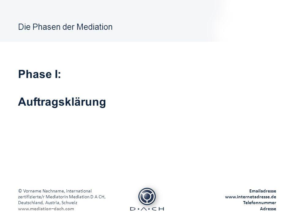 Phase I: Auftragsklärung Die Phasen der Mediation