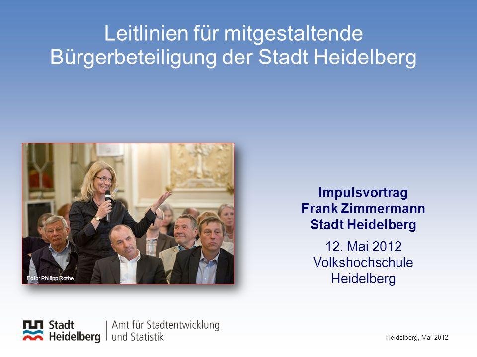 Leitlinien für mitgestaltende Bürgerbeteiligung der Stadt Heidelberg