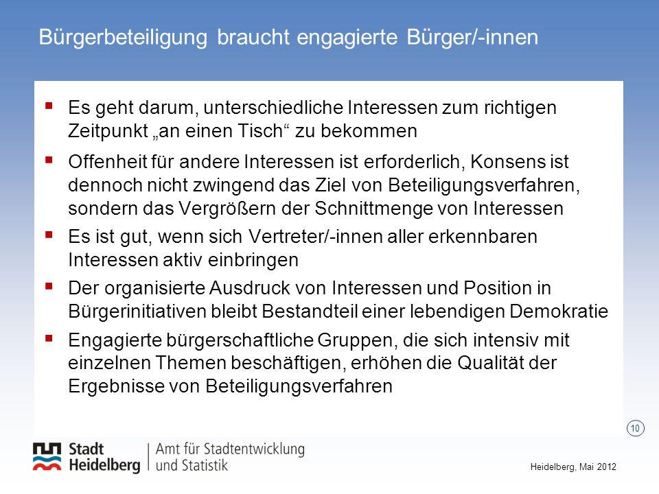 Bürgerbeteiligung braucht engagierte Bürger/-innen