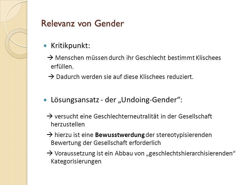 Relevanz von Gender Kritikpunkt: