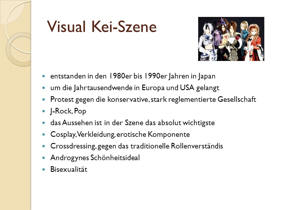 Visual Kei-Szene entstanden in den 1980er bis 1990er Jahren in Japan