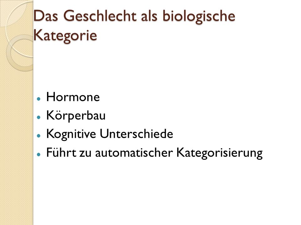 Das Geschlecht als biologische Kategorie