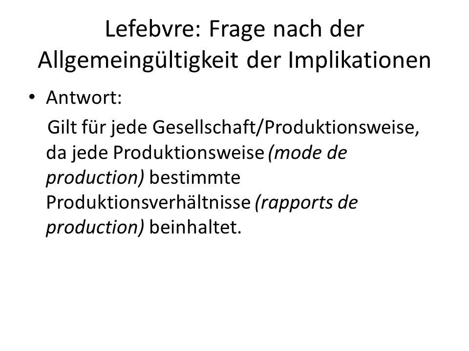 Lefebvre: Frage nach der Allgemeingültigkeit der Implikationen