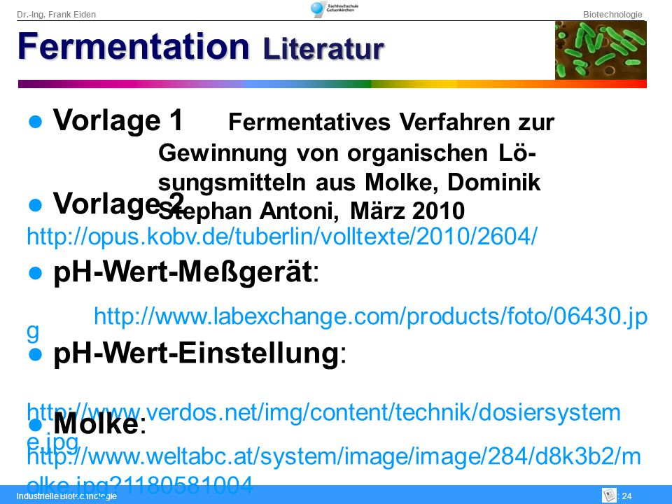 Fermentation Literatur