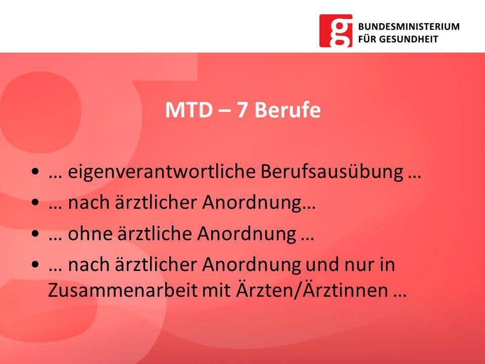MTD – 7 Berufe … eigenverantwortliche Berufsausübung …