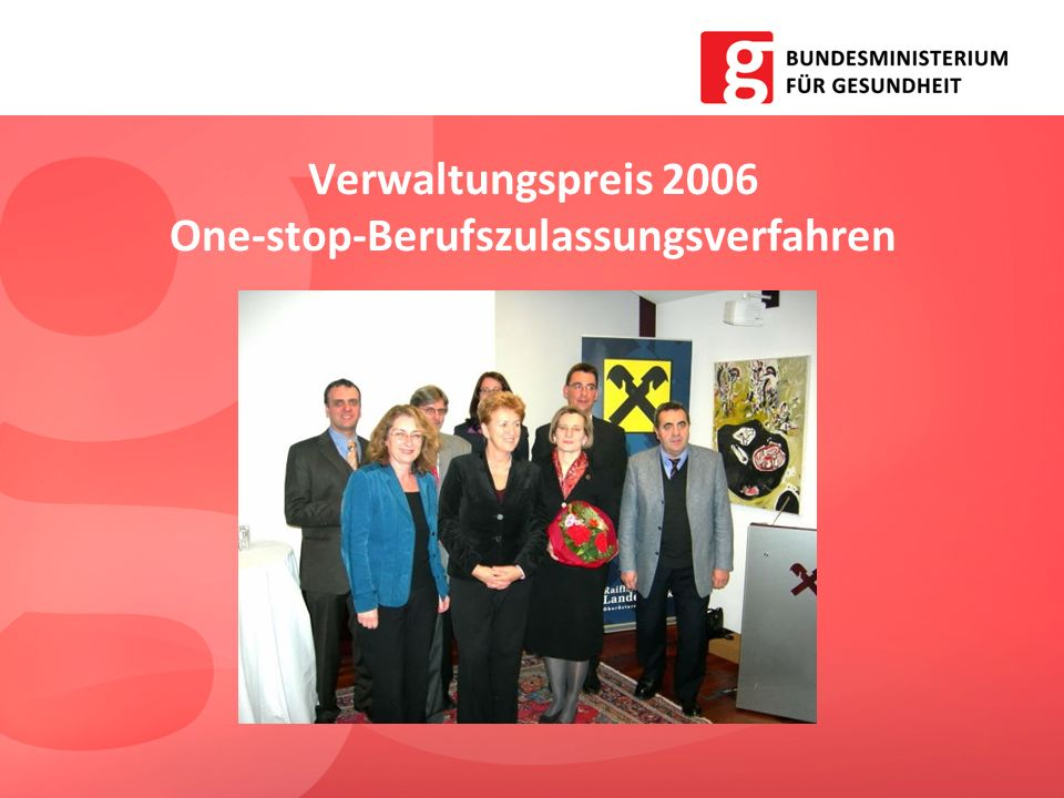 Verwaltungspreis 2006 One-stop-Berufszulassungsverfahren