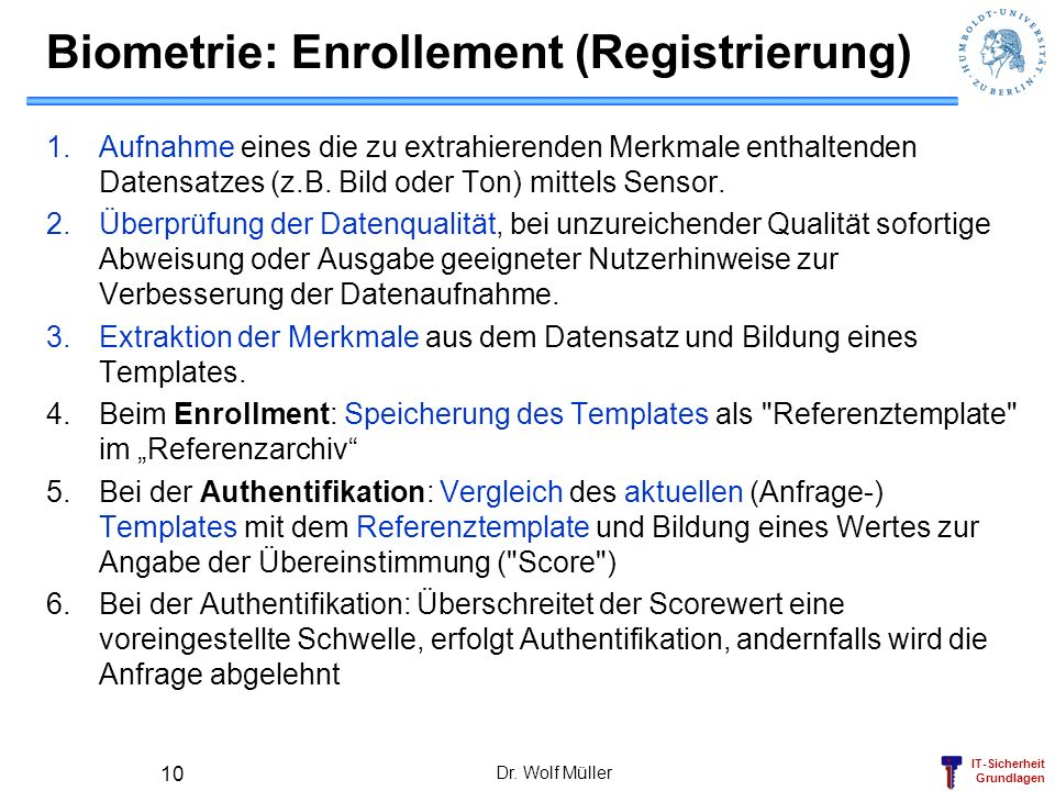 Biometrie: Enrollement (Registrierung)