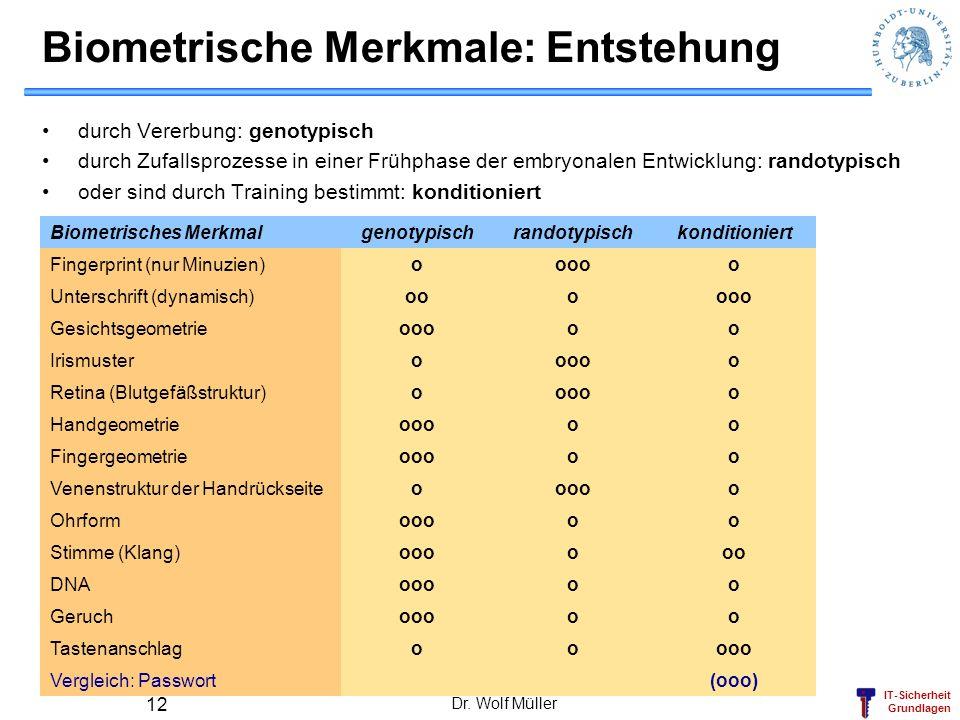 Biometrische Merkmale: Entstehung