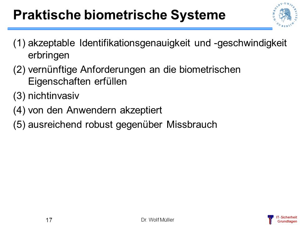 Praktische biometrische Systeme