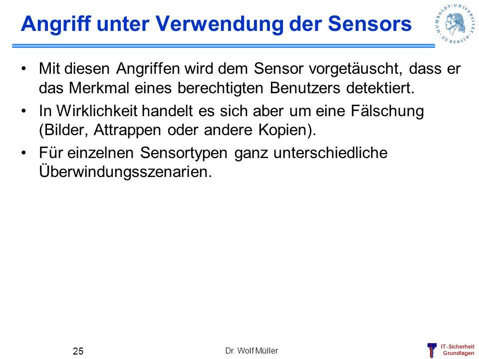 Angriff unter Verwendung der Sensors