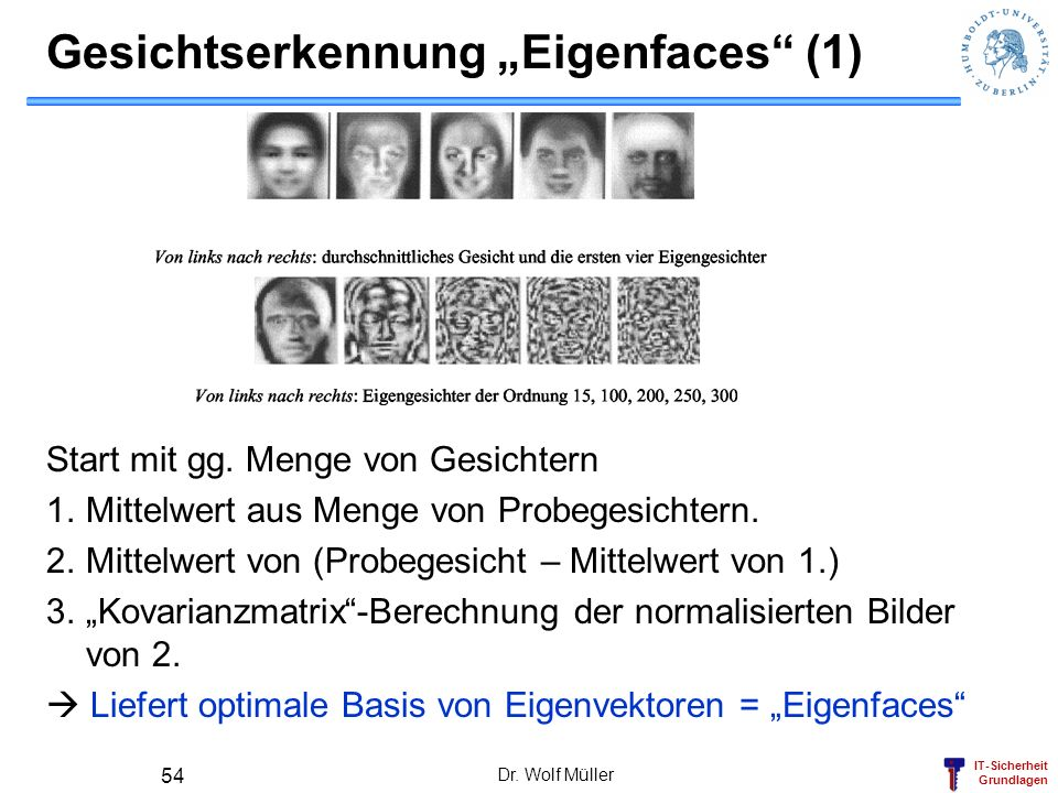 """Gesichtserkennung """"Eigenfaces (1)"""