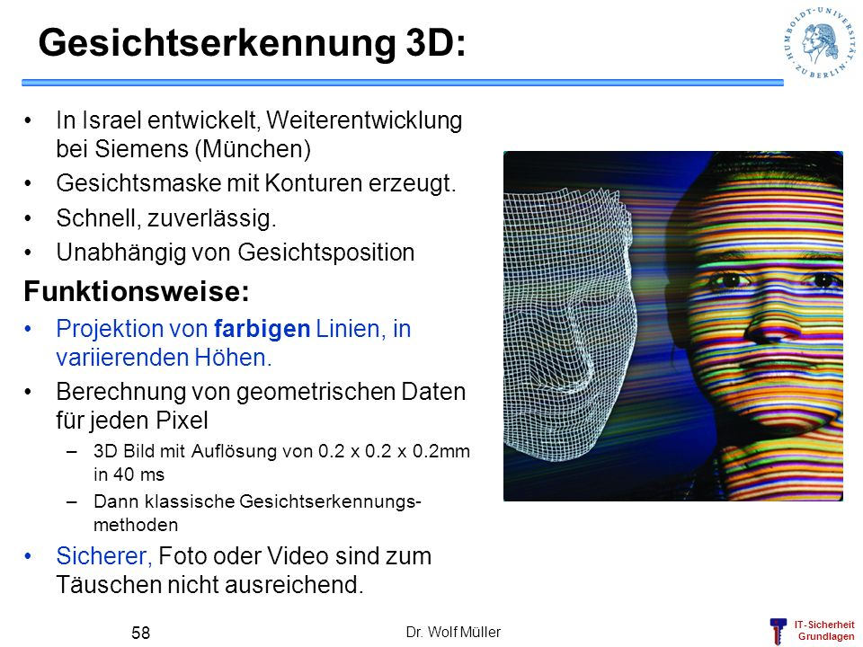 Gesichtserkennung 3D: Funktionsweise: