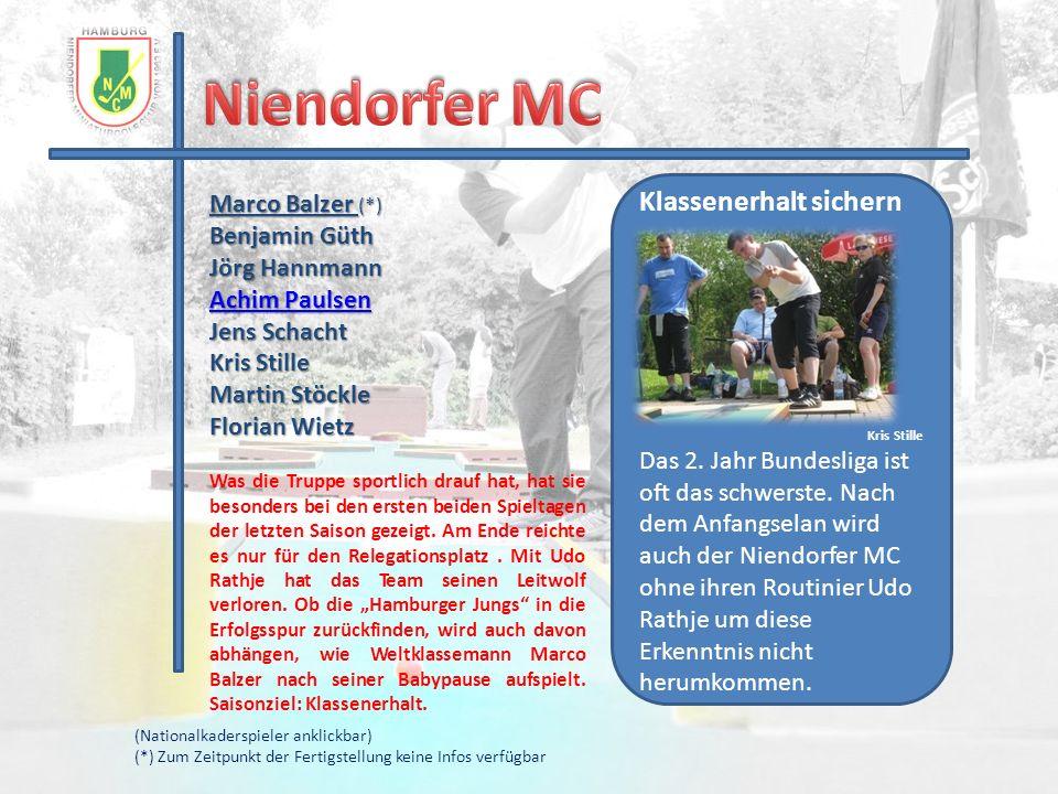 Niendorfer MC Klassenerhalt sichern Marco Balzer (*) Benjamin Güth