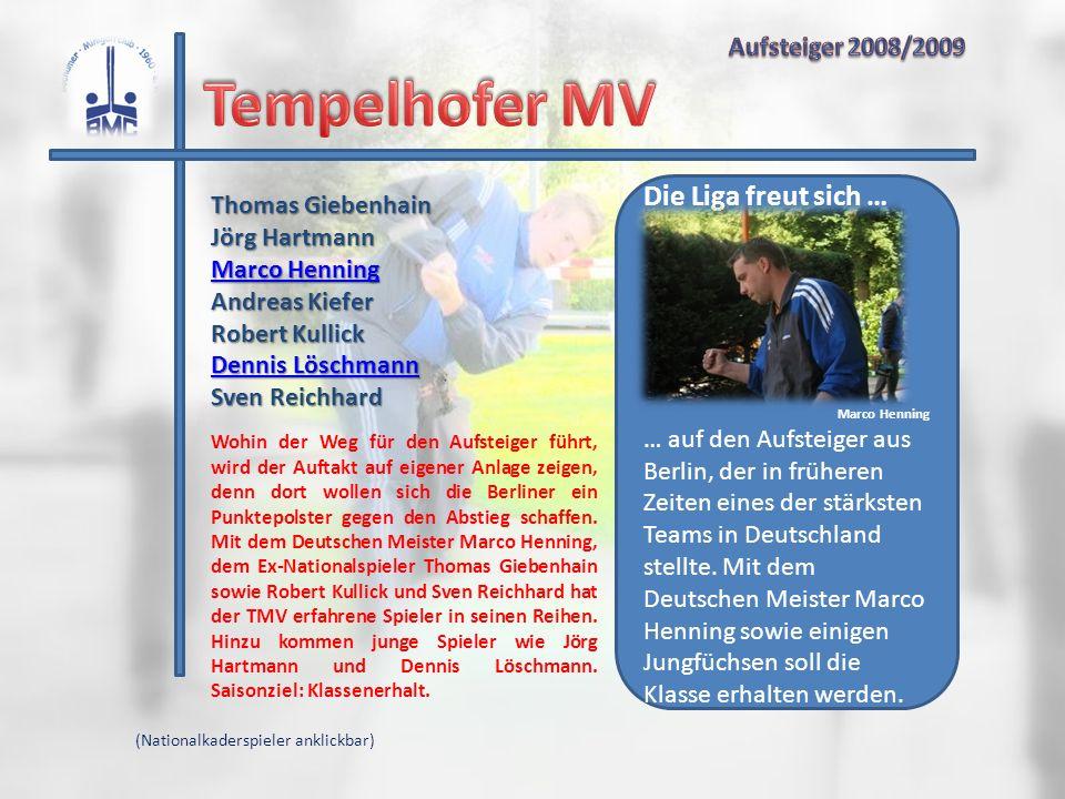 Tempelhofer MV Die Liga freut sich … Aufsteiger 2008/2009