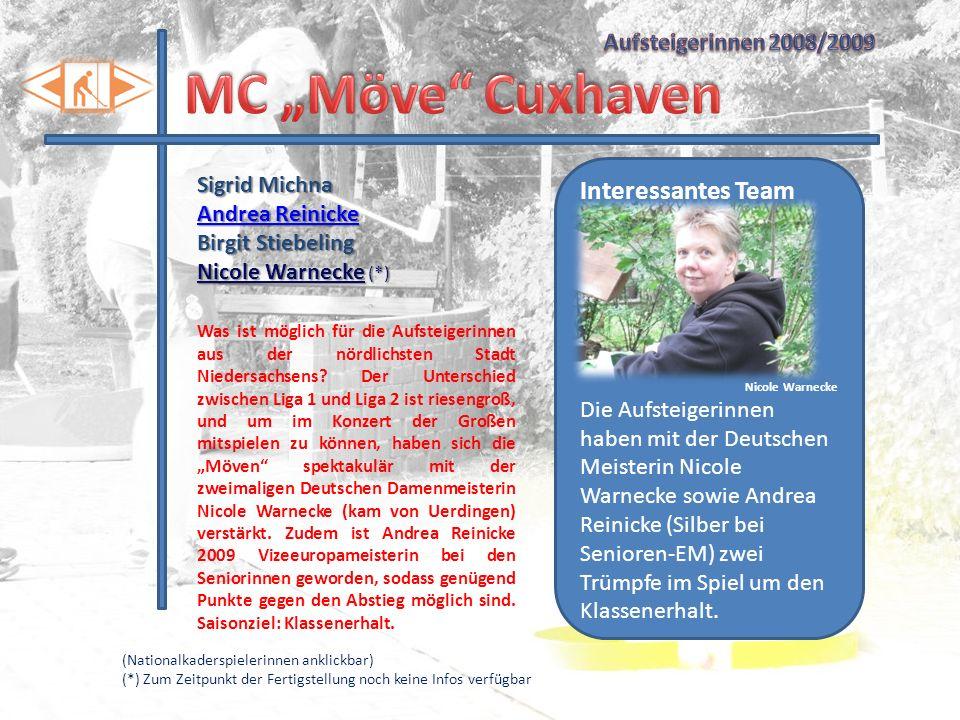 """MC """"Möve Cuxhaven Interessantes Team Aufsteigerinnen 2008/2009"""