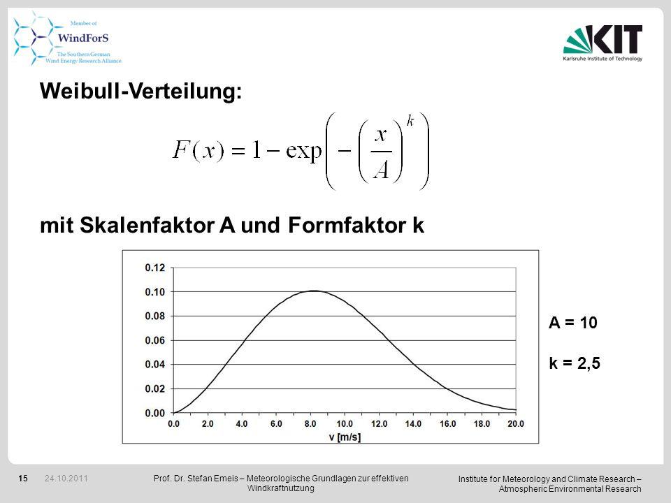 mit Skalenfaktor A und Formfaktor k