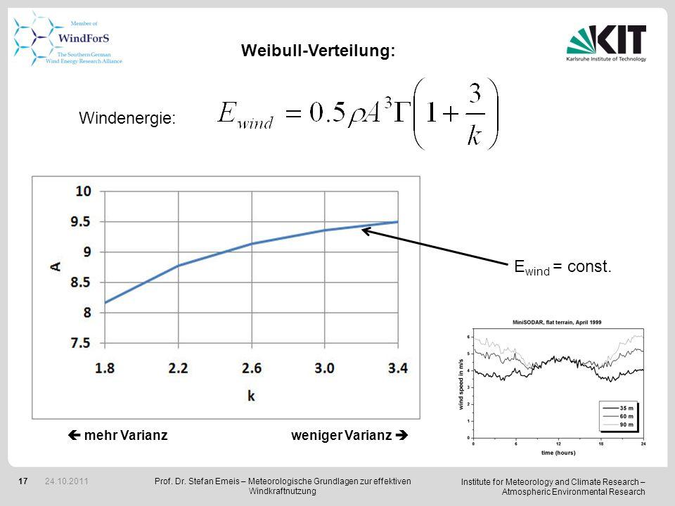 Weibull-Verteilung: Windenergie: Ewind = const.