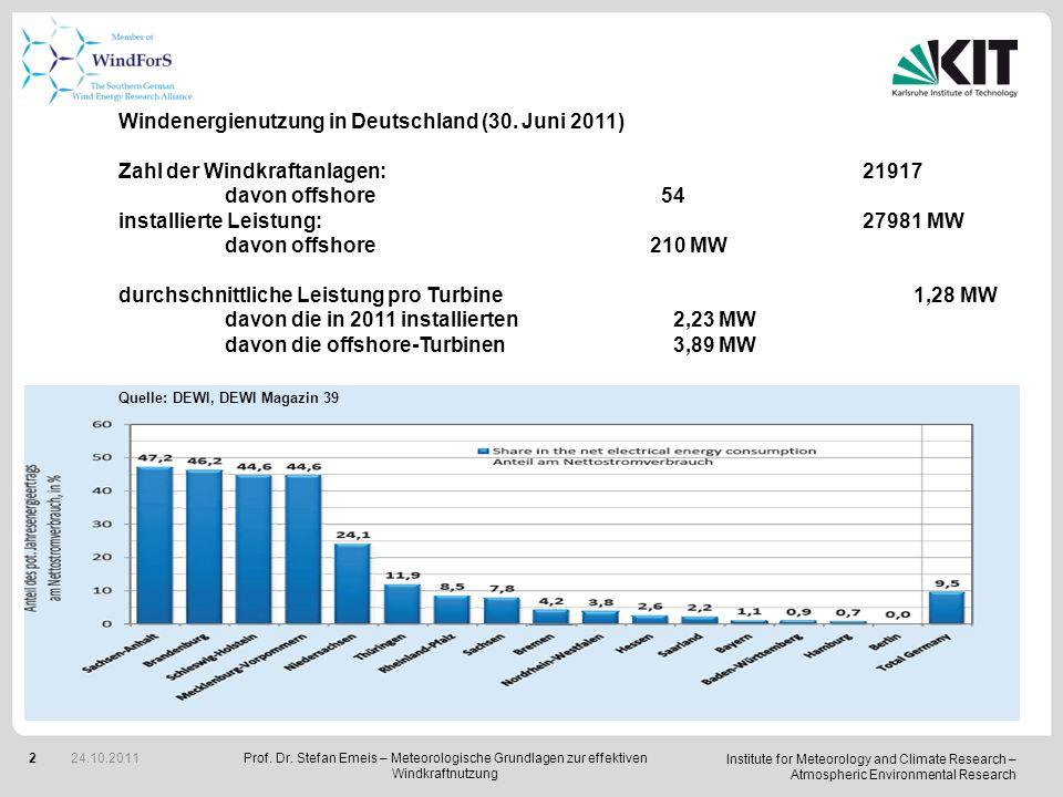 Windenergienutzung in Deutschland (30. Juni 2011)