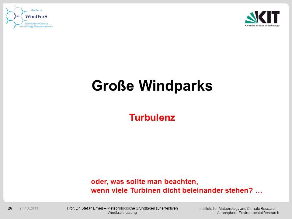 Große Windparks Turbulenz oder, was sollte man beachten,