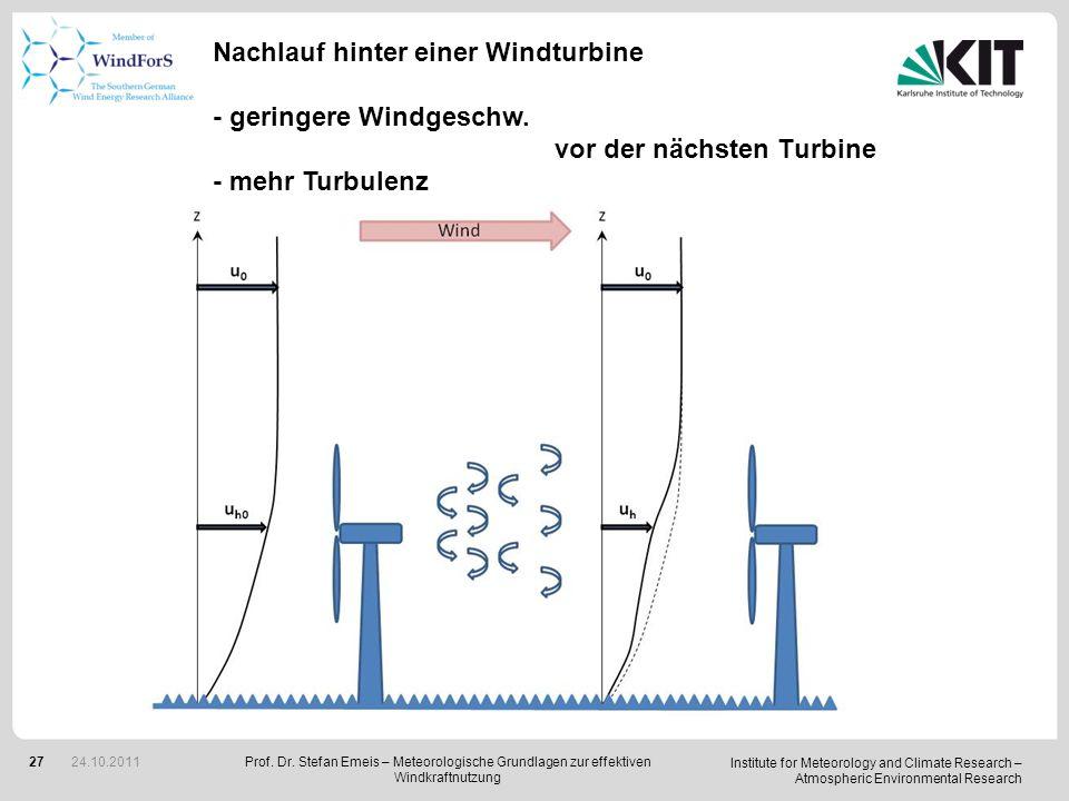 Nachlauf hinter einer Windturbine - geringere Windgeschw.