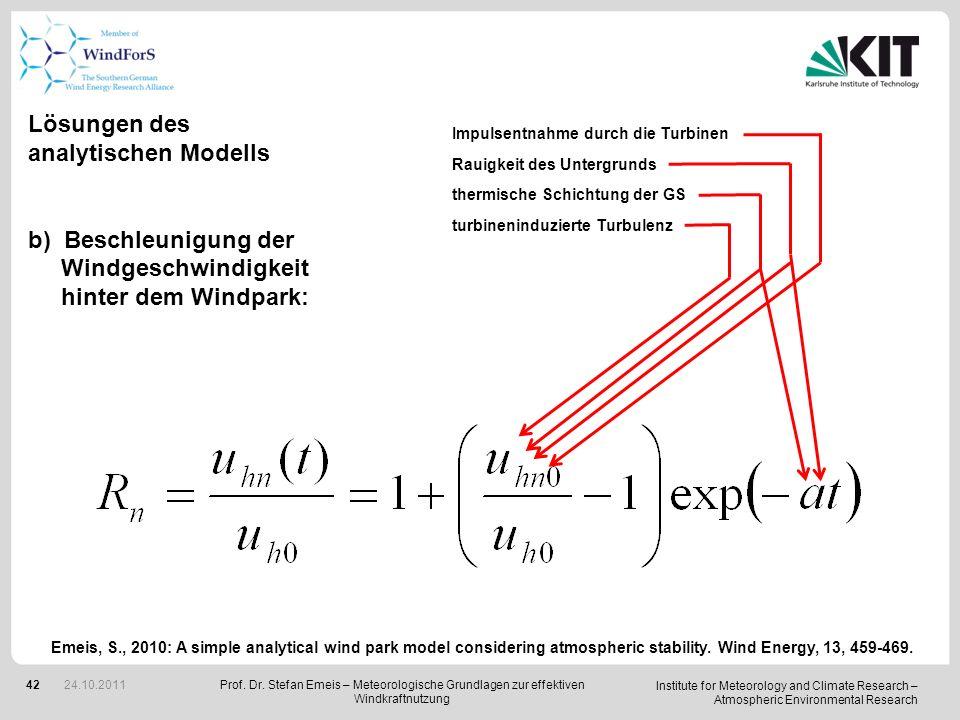 Lösungen des analytischen Modells Beschleunigung der