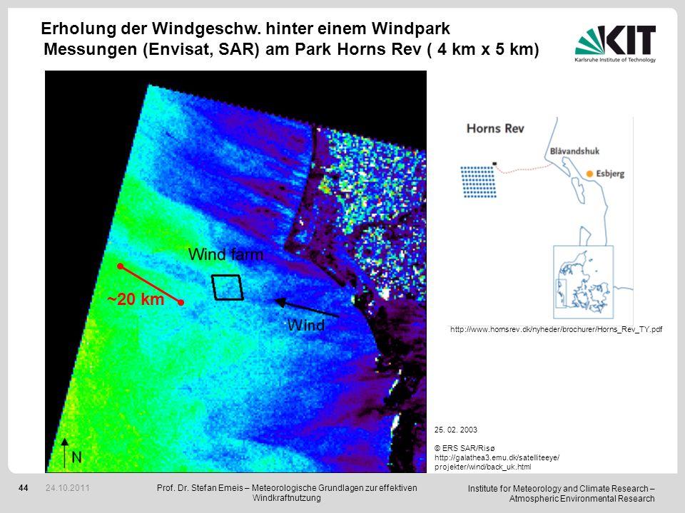 Erholung der Windgeschw. hinter einem Windpark