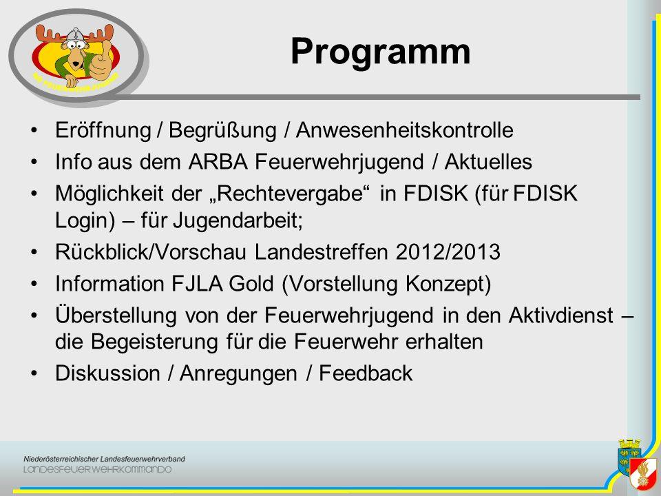 Programm Eröffnung / Begrüßung / Anwesenheitskontrolle