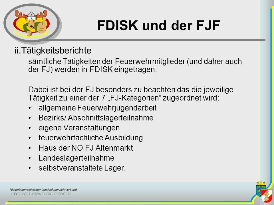 FDISK und der FJF Tätigkeitsberichte