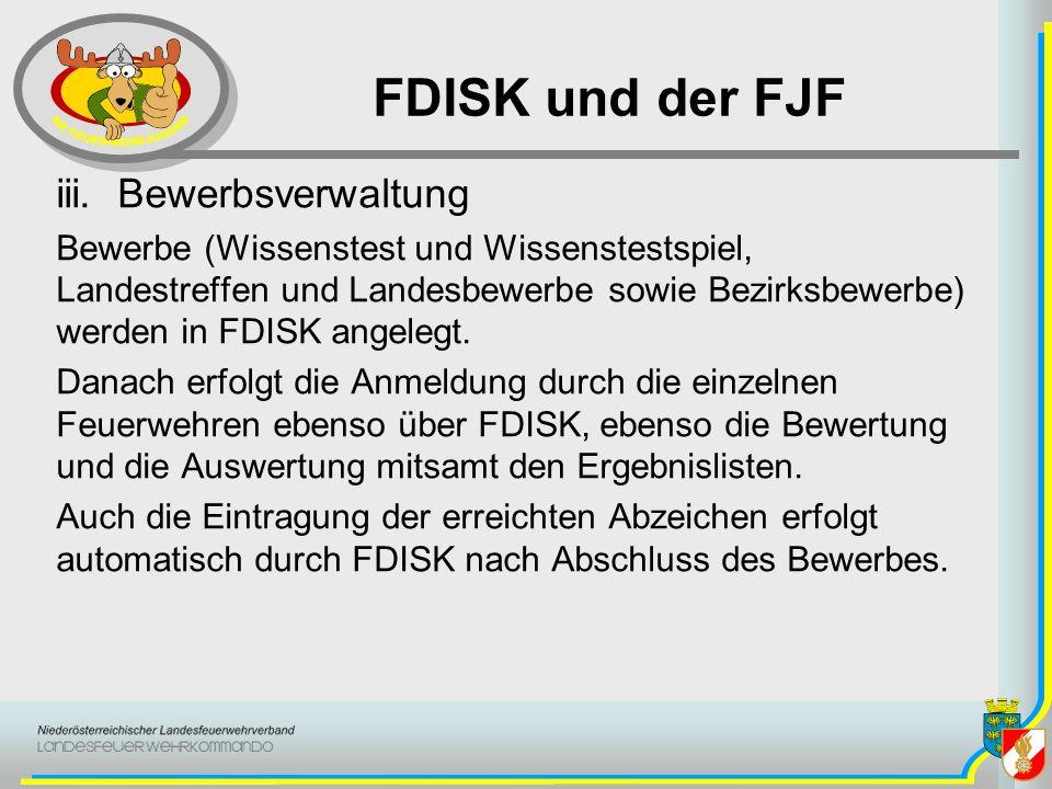FDISK und der FJF iii. Bewerbsverwaltung