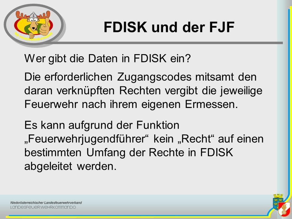 FDISK und der FJF Wer gibt die Daten in FDISK ein