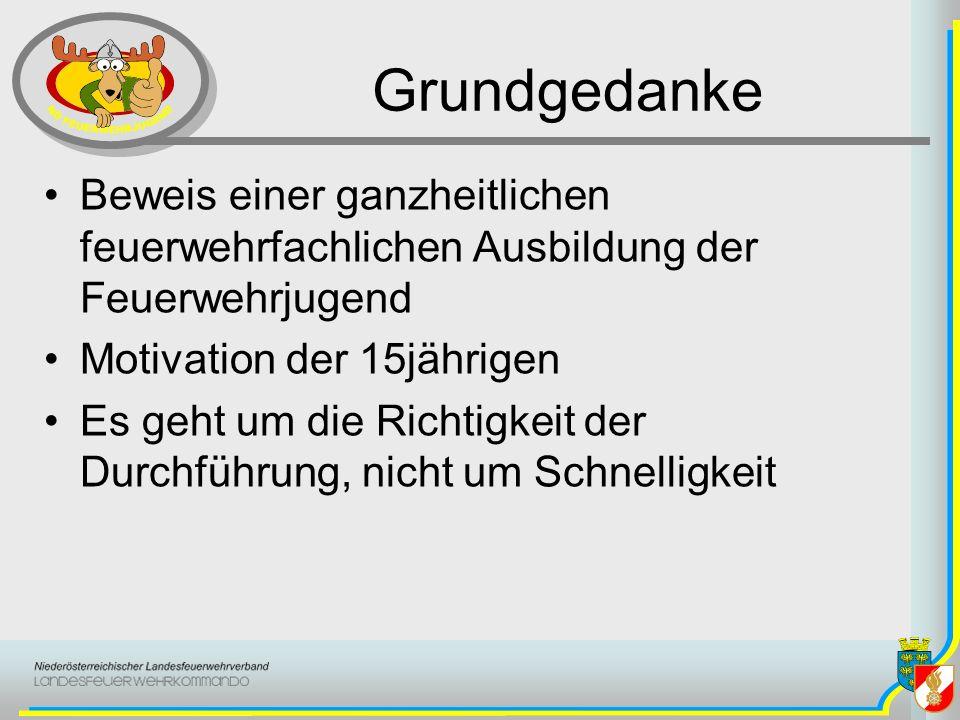 Grundgedanke Beweis einer ganzheitlichen feuerwehrfachlichen Ausbildung der Feuerwehrjugend. Motivation der 15jährigen.