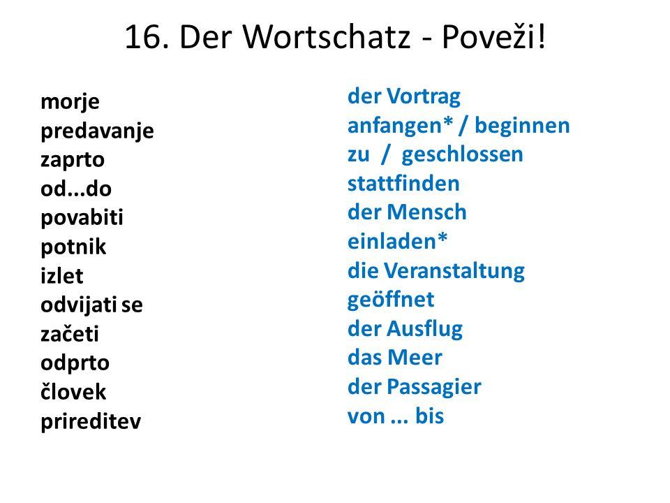 16. Der Wortschatz - Poveži!