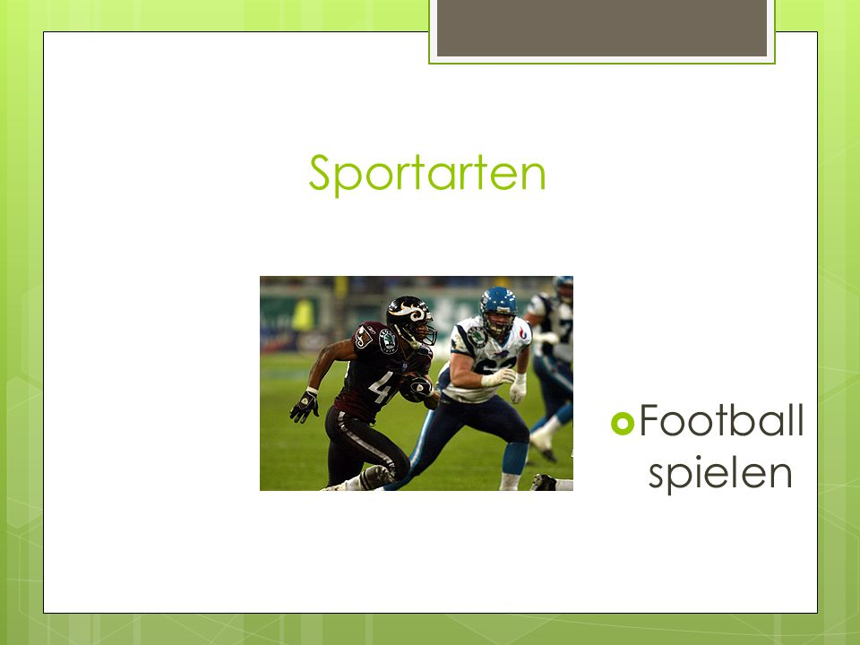 Sportarten Football spielen