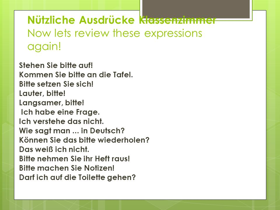 Nützliche Ausdrücke Klassenzimmer Now lets review these expressions again!