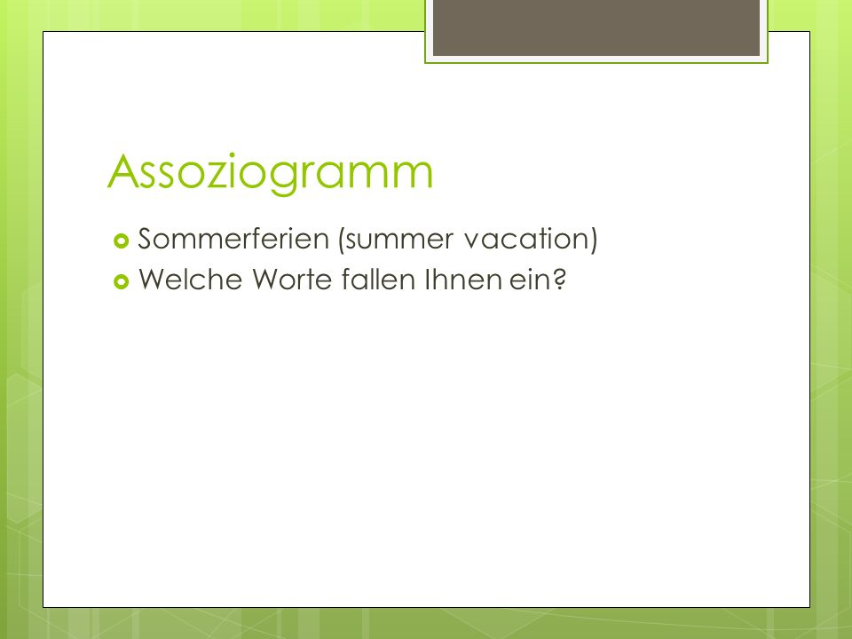 Assoziogramm Sommerferien (summer vacation)