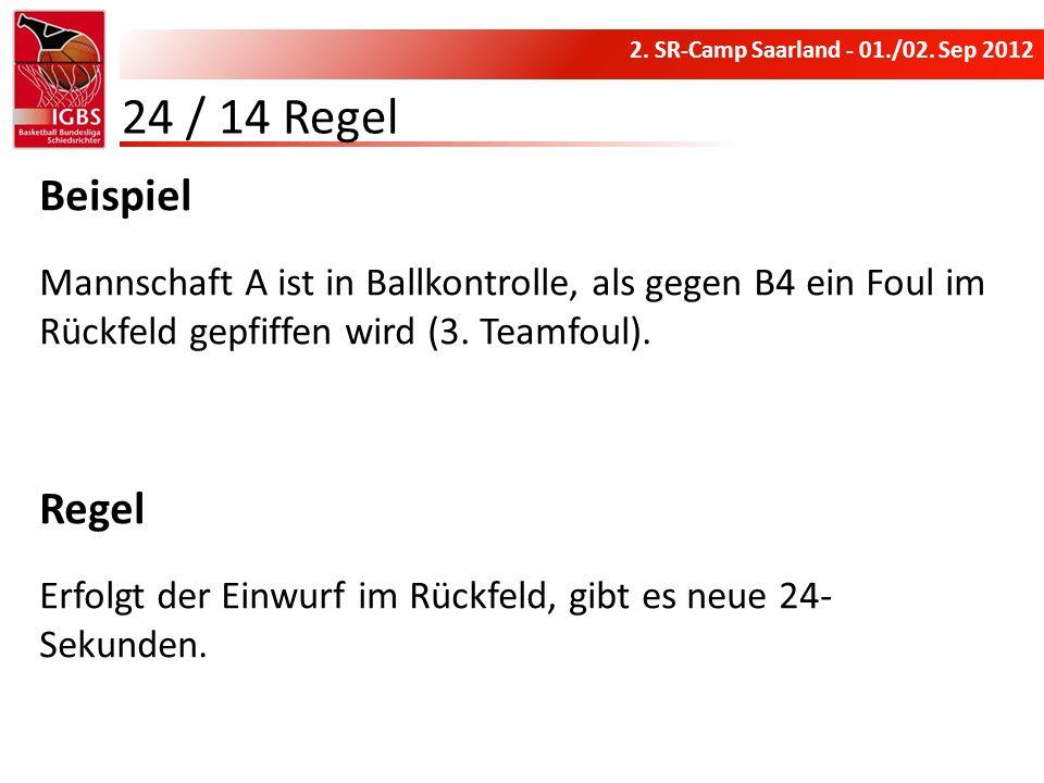 24 / 14 RegelBeispiel. Mannschaft A ist in Ballkontrolle, als gegen B4 ein Foul im Rückfeld gepfiffen wird (3. Teamfoul).