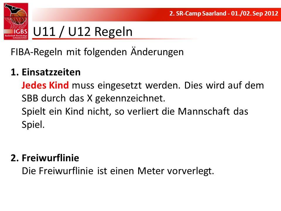 U11 / U12 Regeln FIBA-Regeln mit folgenden Änderungen