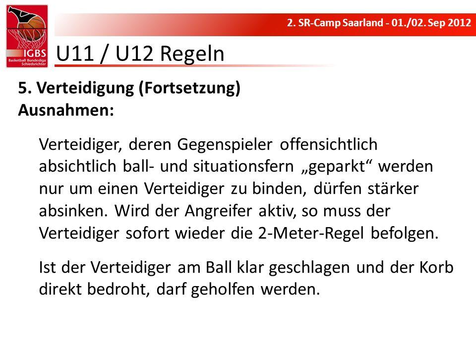 U11 / U12 Regeln Verteidigung (Fortsetzung) Ausnahmen: