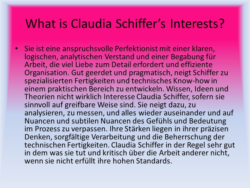 What is Claudia Schiffer's Interests
