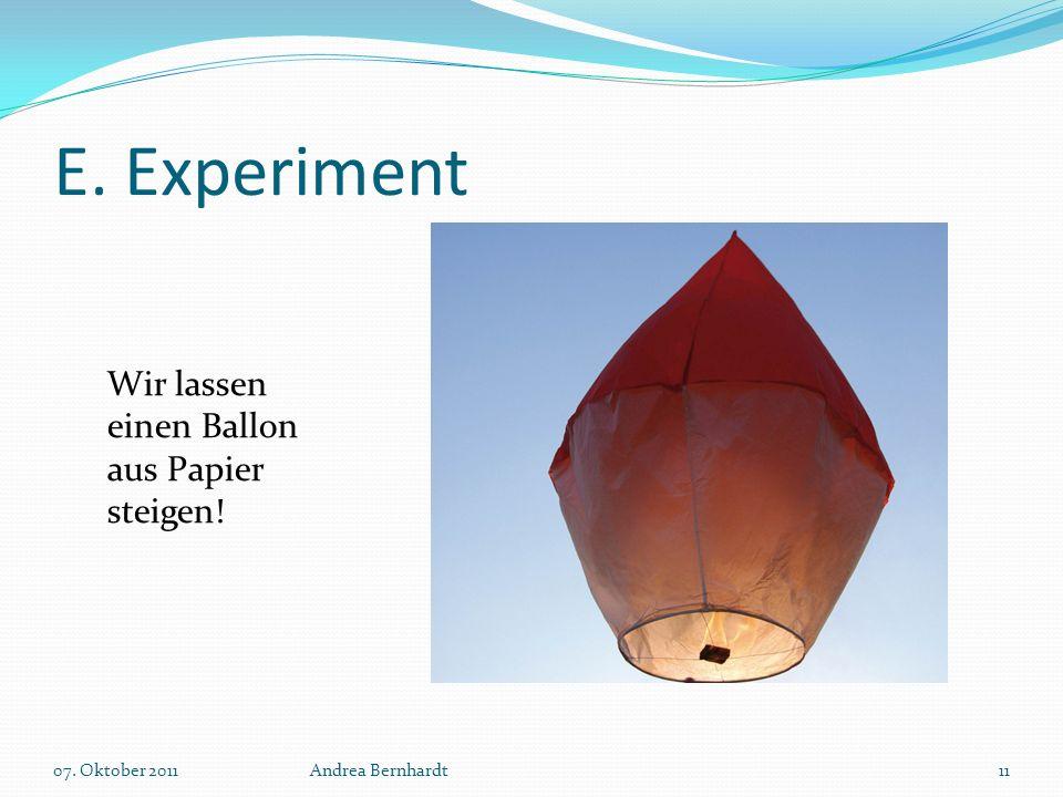 E. Experiment Wir lassen einen Ballon aus Papier steigen!