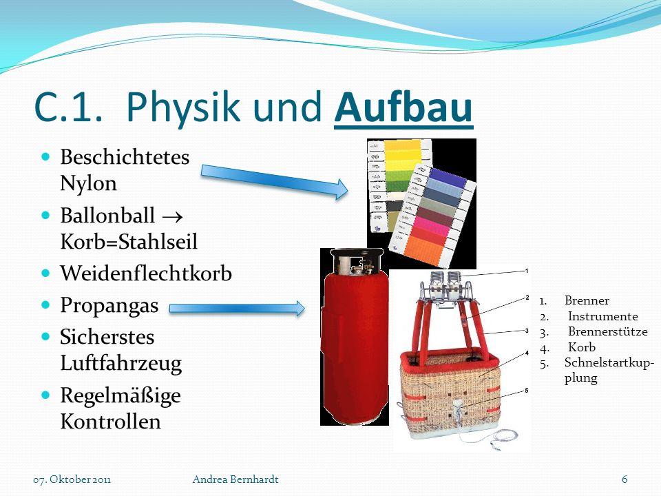 C.1. Physik und Aufbau Beschichtetes Nylon Ballonball  Korb=Stahlseil