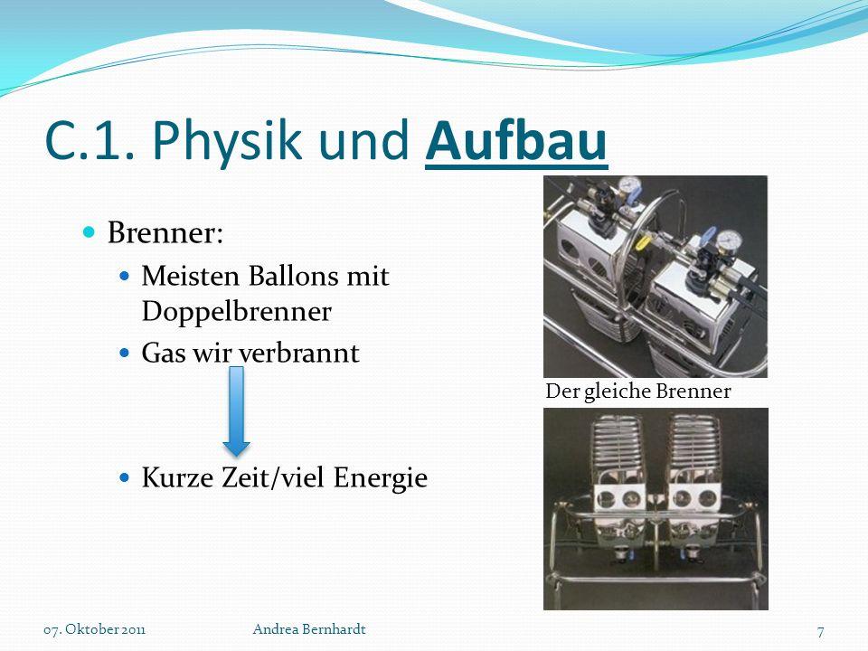 C.1. Physik und Aufbau Brenner: Meisten Ballons mit Doppelbrenner