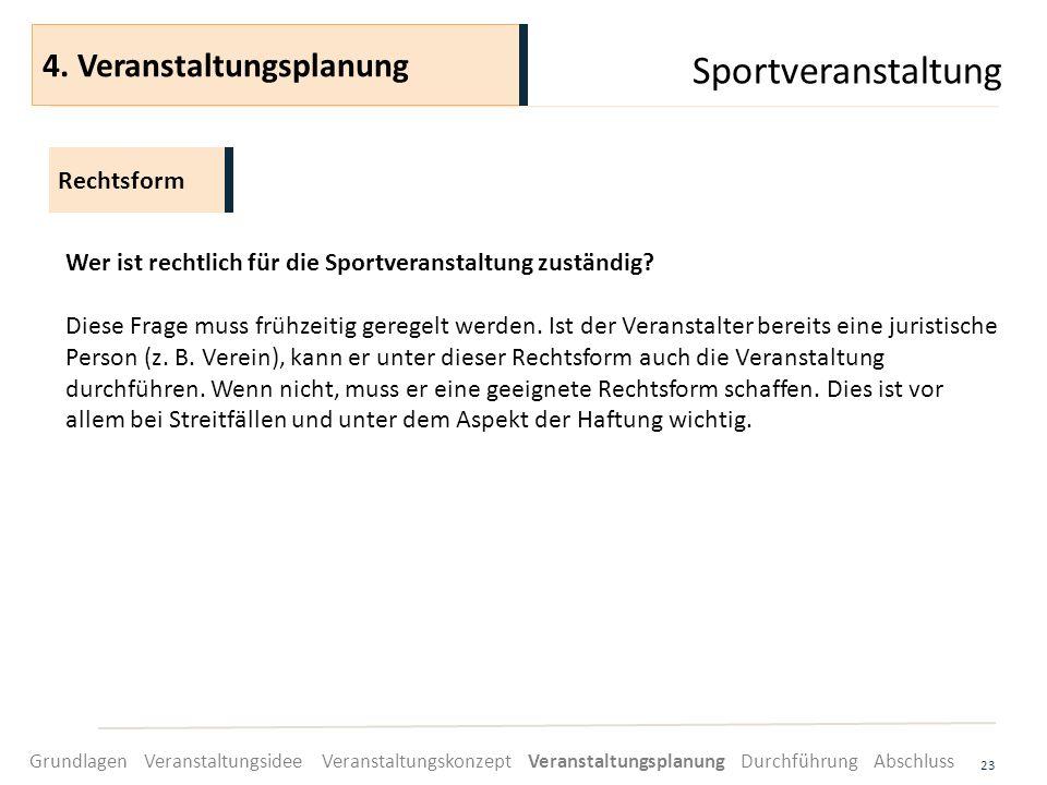 Sportveranstaltung 4. Veranstaltungsplanung Rechtsform
